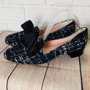 Kate Spade Gino Tweed Bow Flats Loafers Size 9M